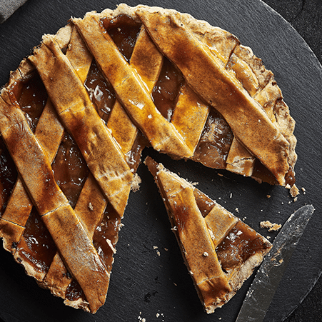 apple pie with slice removed