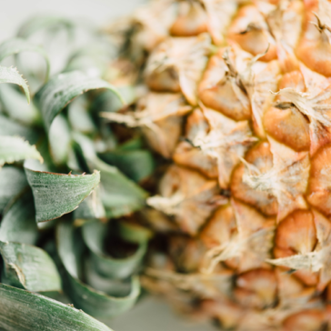 fresh pineapple laying on its side