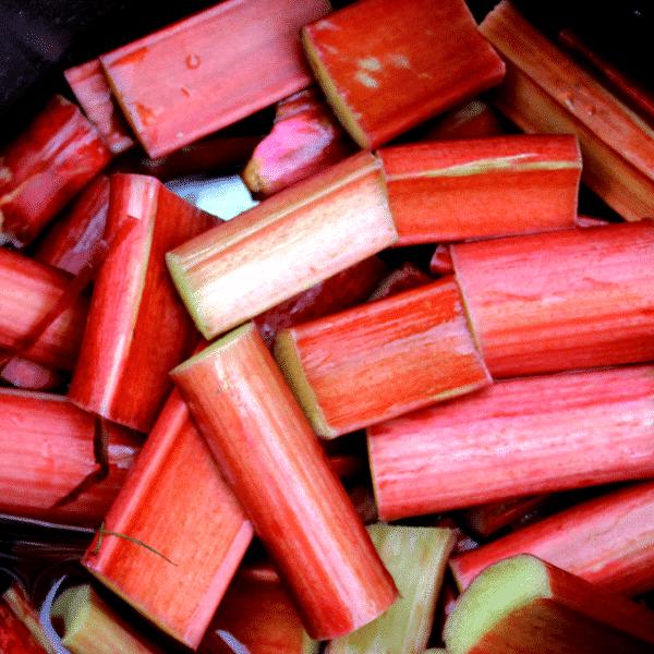 fresh cut chunks of bright red rhubarb