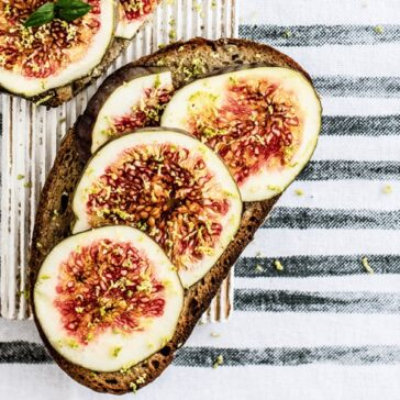 Fresh figs on a slice of whole wheat toast