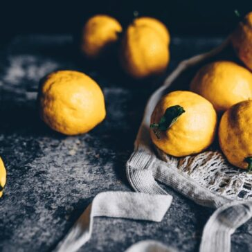 fresh quince on a table with linen