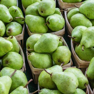 brown paper bushels of fresh green pears