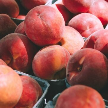 bushels of fresh peaches in the sunlight
