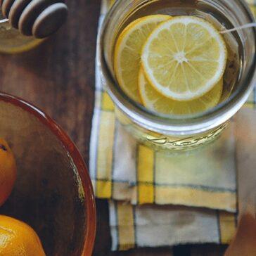 lemon slices in glass of water