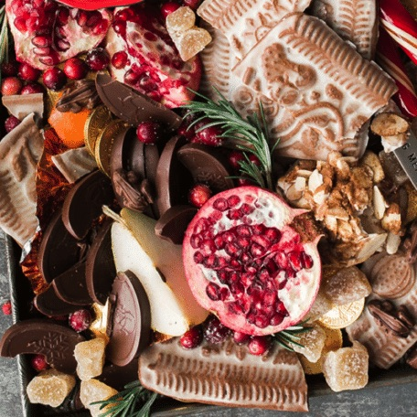holiday treats, fresh fruit and goodies on a tray