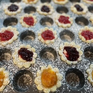 Mini Flower Jam Tarts in a pan